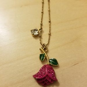 BETSEY JOHNSON Pink Rose Necklace